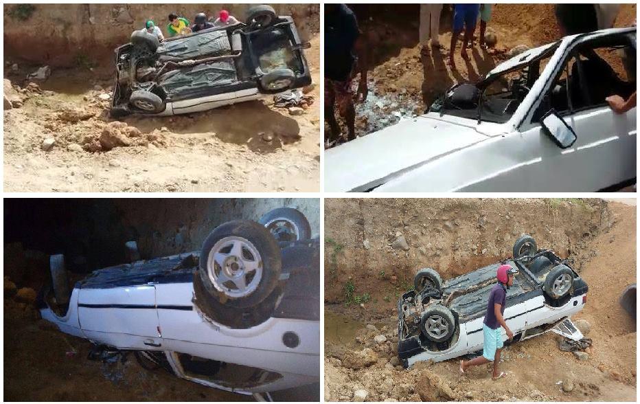 Candiba : Jovem perde controle da direção e veiculo cai em canal