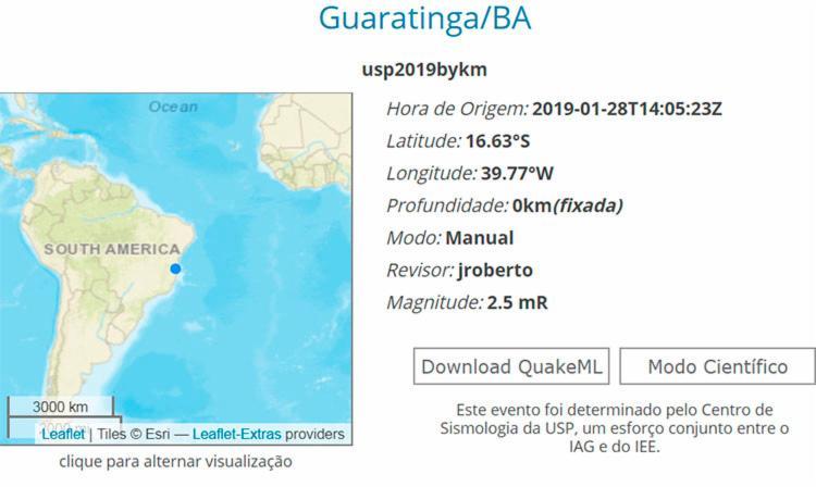tremor de terra em Guaratinga